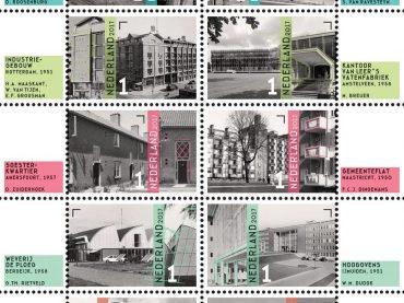 """Gemeenteflat op het nieuwe postzegel-vel """"naoorlogse wederopbouw"""""""