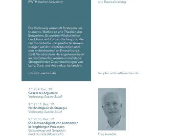 Gastlezing Fred Humblé in de Mastercyclus 'Strategien des Entwerfens' RWTH Aachen
